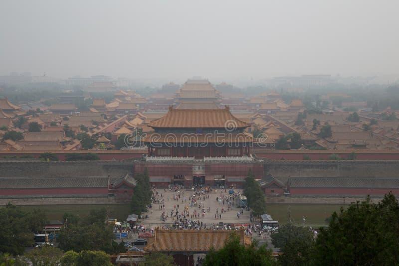Förorening på den förbjudna Fityen, Peking, Kina arkivbild