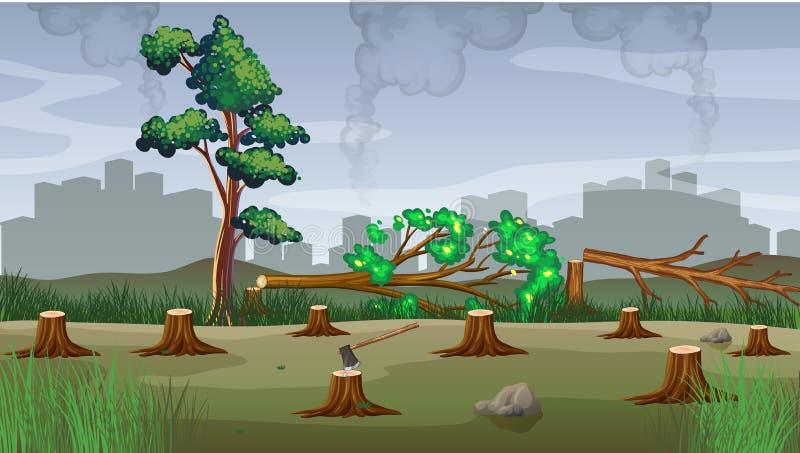 Föroreningtema med skogsavverkning royaltyfri illustrationer