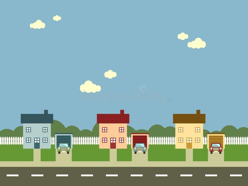 förorts- gata stock illustrationer
