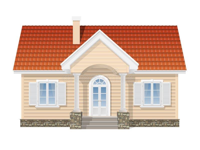 Förorts- hus, realistisk vektorillustration royaltyfri illustrationer