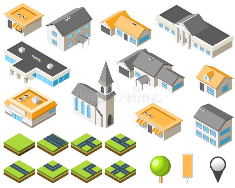 förorts- isometrisk sats för stadsgemenskap vektor illustrationer