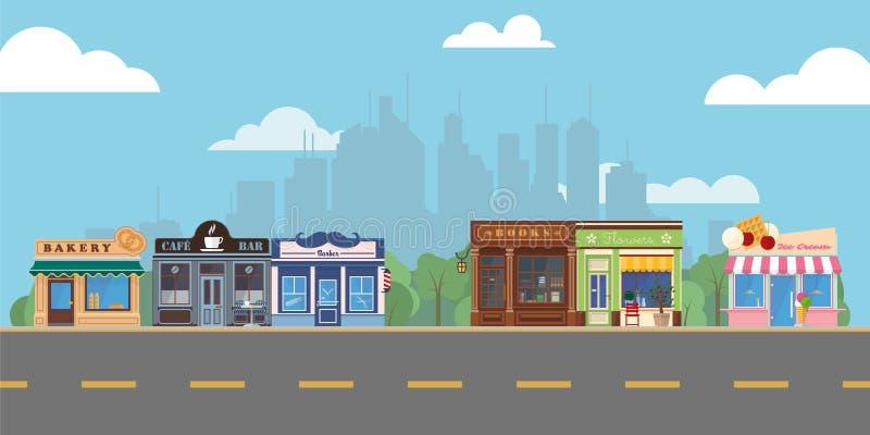 Förorts- shoppinggalleria för huvudsaklig gata för by royaltyfri illustrationer
