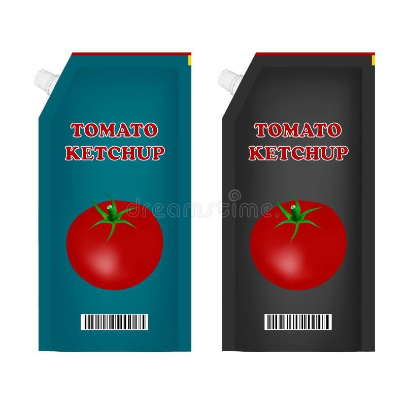 Förpacka av tomatketchup i vektorn Tomatketchup på vit bakgrund också vektor för coreldrawillustration royaltyfri illustrationer