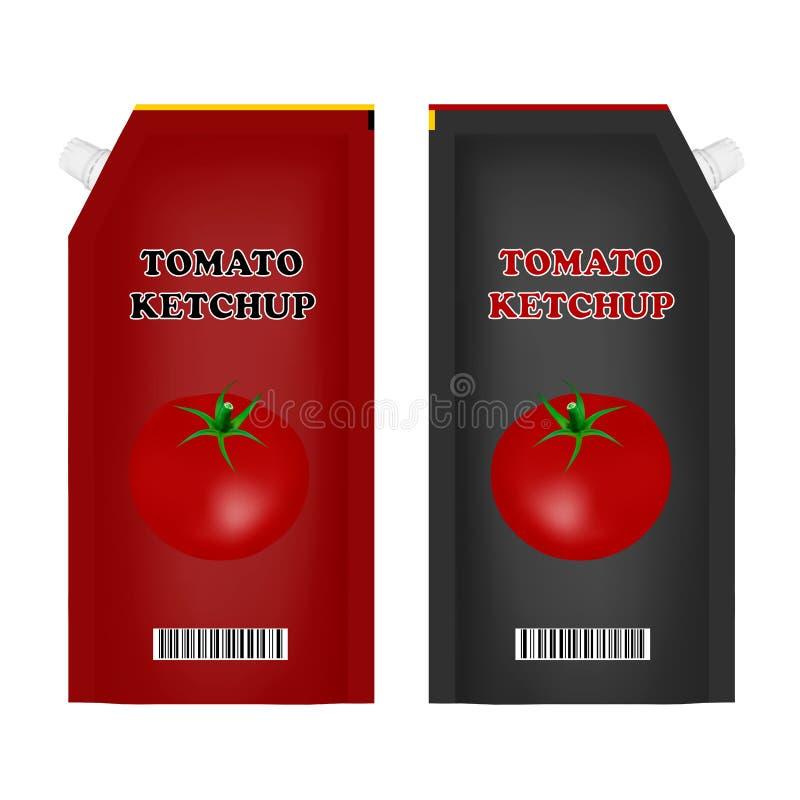 Förpacka av tomatketchup i vektorn Tomatketchup på vit bakgrund också vektor för coreldrawillustration vektor illustrationer