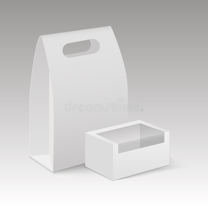 Förpacka för ask för lunch för handtag för övre tomt för papp för vitåtlöje tagande för rektangel bort vektor illustrationer