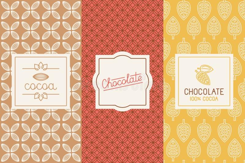 Förpacka för choklad och för kakao vektor illustrationer