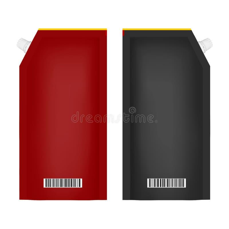Förpacka för ketchup eller majonnäs i vektor på vit bakgrund stock illustrationer