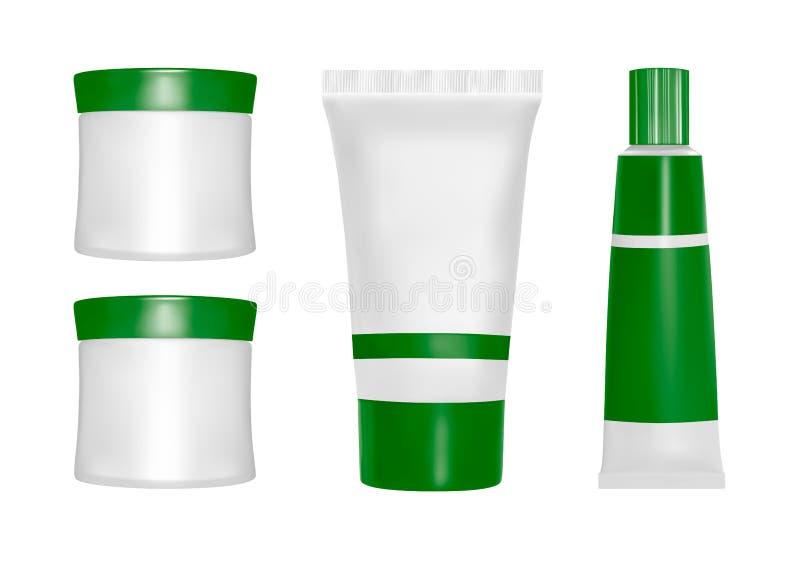 Förpacka för vektor brunnsort för produkter för huvuddelomsorgslivstid fortfarande Olja, lotion eller tvål, schampo, kräm Realist stock illustrationer