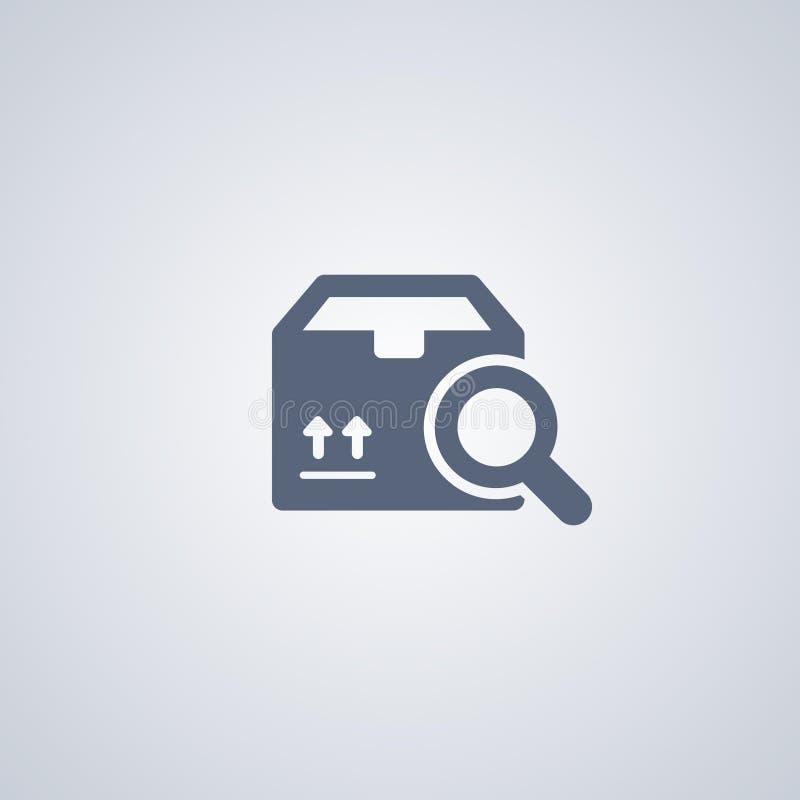 Förpacka sökandet, jordlottsökandet, den bästa plana symbolen för vektorn royaltyfri illustrationer