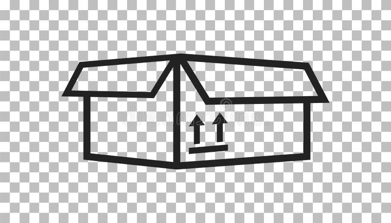 Förpackande asksymbol med pilsymbol Sändande enkel vecto för packe vektor illustrationer