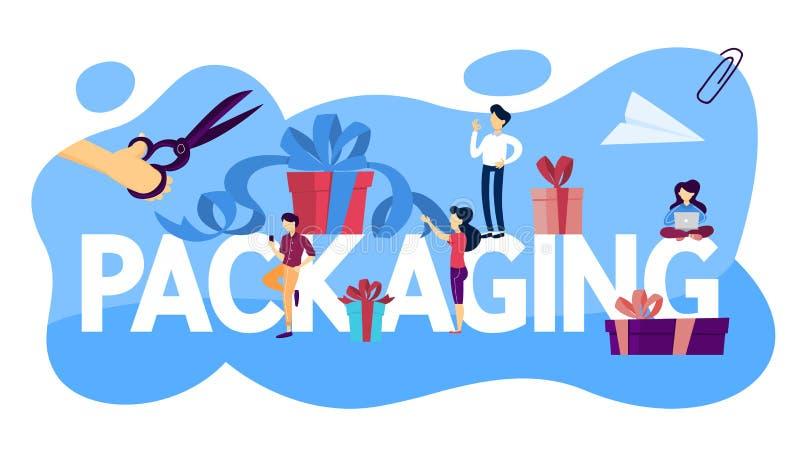 Förpackande begreppsillustration Idé av behållare- och askdesignen stock illustrationer