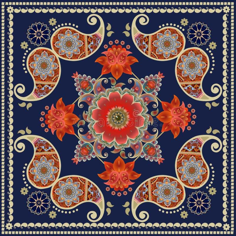 Förpackande design för teask Unik fyrkantig matta i indisk stil med röda blommor och den paisley modellen Bandanatryck royaltyfri illustrationer