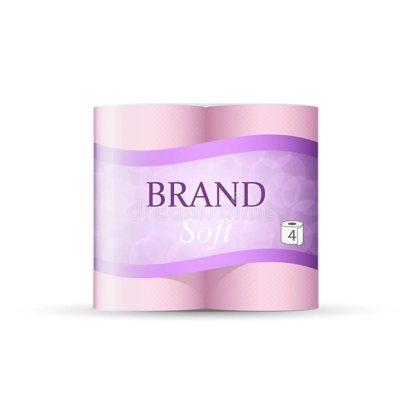 Förpackande design för toalettpapper, vektormall av den pappers- handduken vektor illustrationer