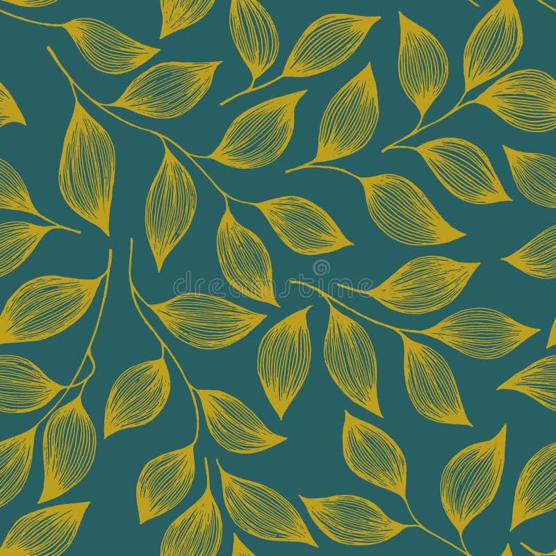 Förpackande illustration för vektor för tebladmodell sömlös Den gulliga busken för teväxten lämnar den blom- textilprydnaden royaltyfri illustrationer
