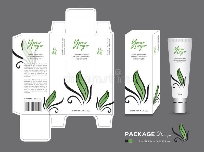 Förpackande mall för skönhet, skönhetsmedel för ask 3d, produktdesign, blad som förpackar, sunda produkter, kräm- orientering, br vektor illustrationer
