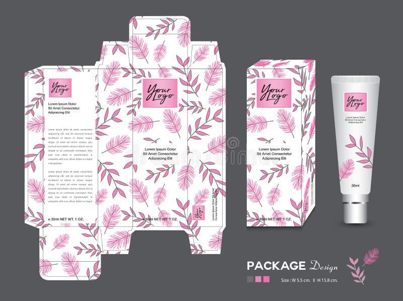 Förpackande mall för skönhet, skönhetsmedel för ask 3d, produktdesign, packeetikett, sunda produkter, kräm- orientering, nytt eko stock illustrationer