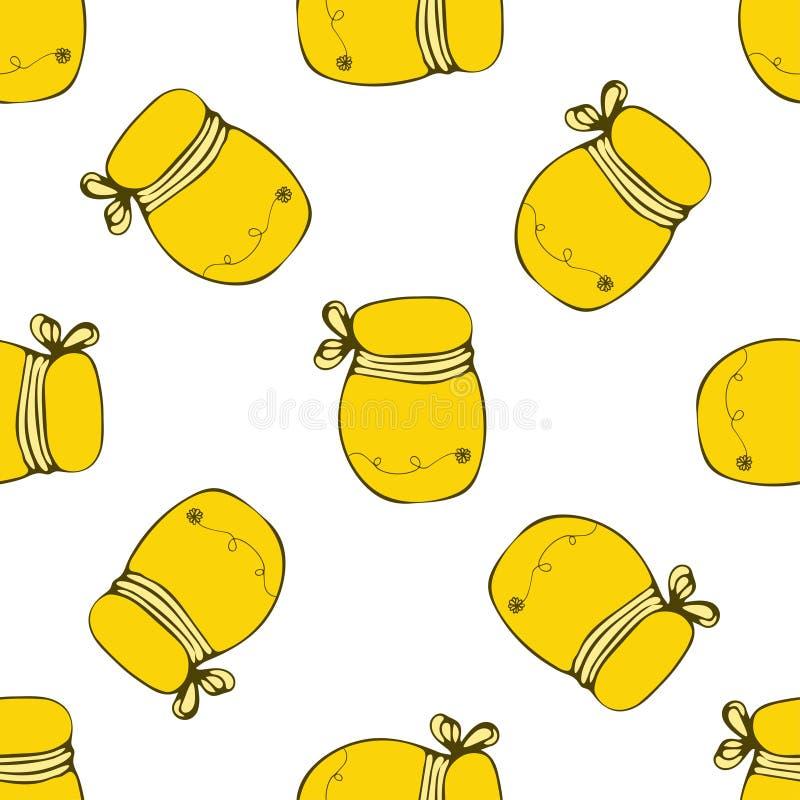 Förpackande mall för vektor med den sömlösa honungmodellen beelining stock illustrationer