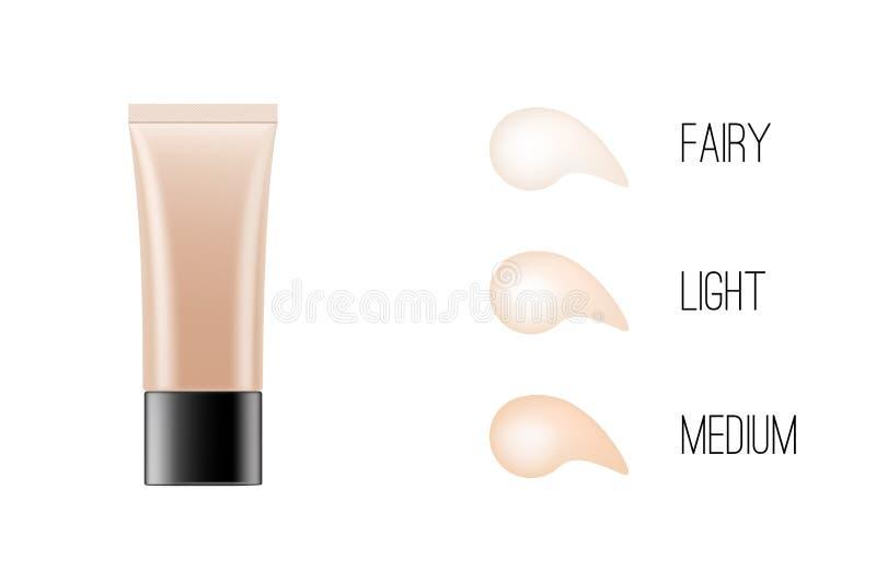 förpackande modell för BB-kräm fundamenttäckstift med diagrammet för hudsignal Kosmetisk produkt för smink som brännmärker, annon vektor illustrationer