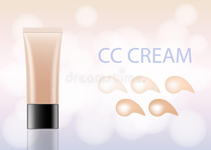 förpackande modell för CC-kräm fundamenttäckstift med diagrammet för hudsignal Kosmetisk produkt för smink som brännmärker, annon vektor illustrationer