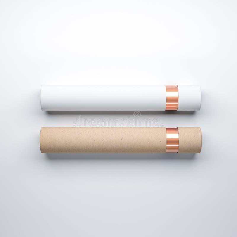 Förpackande modell för vitt och brunt papprörfall med guld- folie som ligger på vit bakgrund stock illustrationer