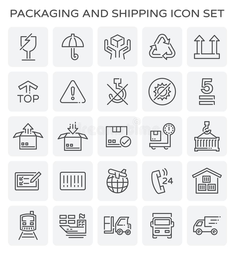 Förpackande sändningssymbol stock illustrationer