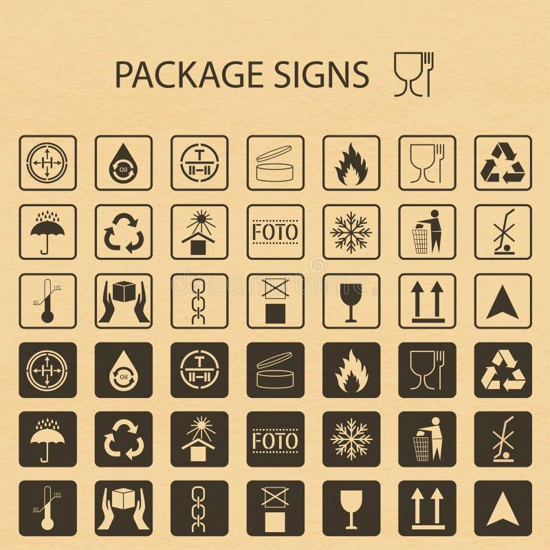 Förpackande symboler för vektor på pappbakgrund Sändningssymbolsuppsättning inklusive återvinning som är bräcklig, hyllalivet av  royaltyfri illustrationer