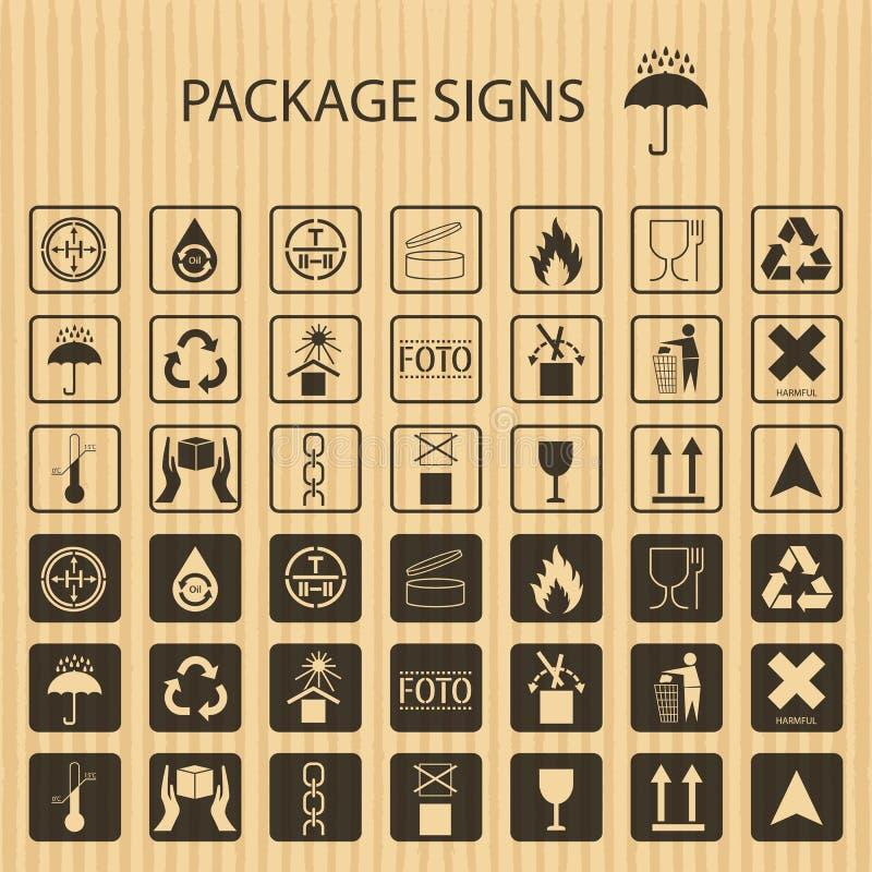Förpackande symboler för vektor på realistisk pappbakgrund Sändningssymbolsuppsättning inklusive återvinning som är bräcklig, hyl stock illustrationer