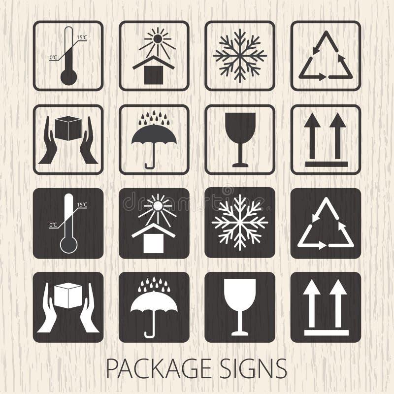 Förpackande symboler för vektor på träbakgrund Symbolsuppsättningen inklusive bräckligt, denna sida upp, behandlar med omsorg, hå royaltyfri illustrationer
