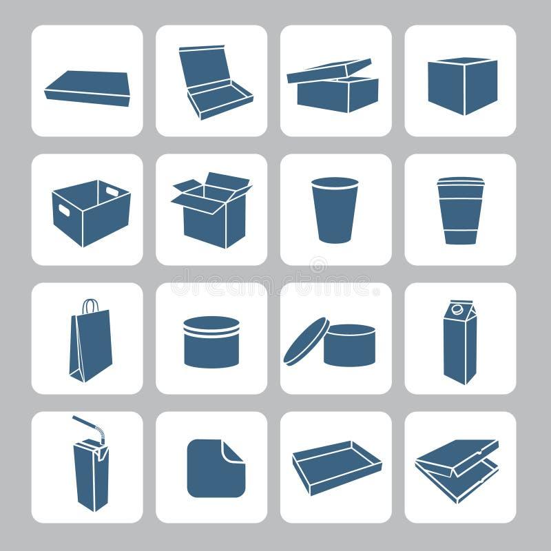 Förpackande symbolsuppsättning royaltyfri illustrationer