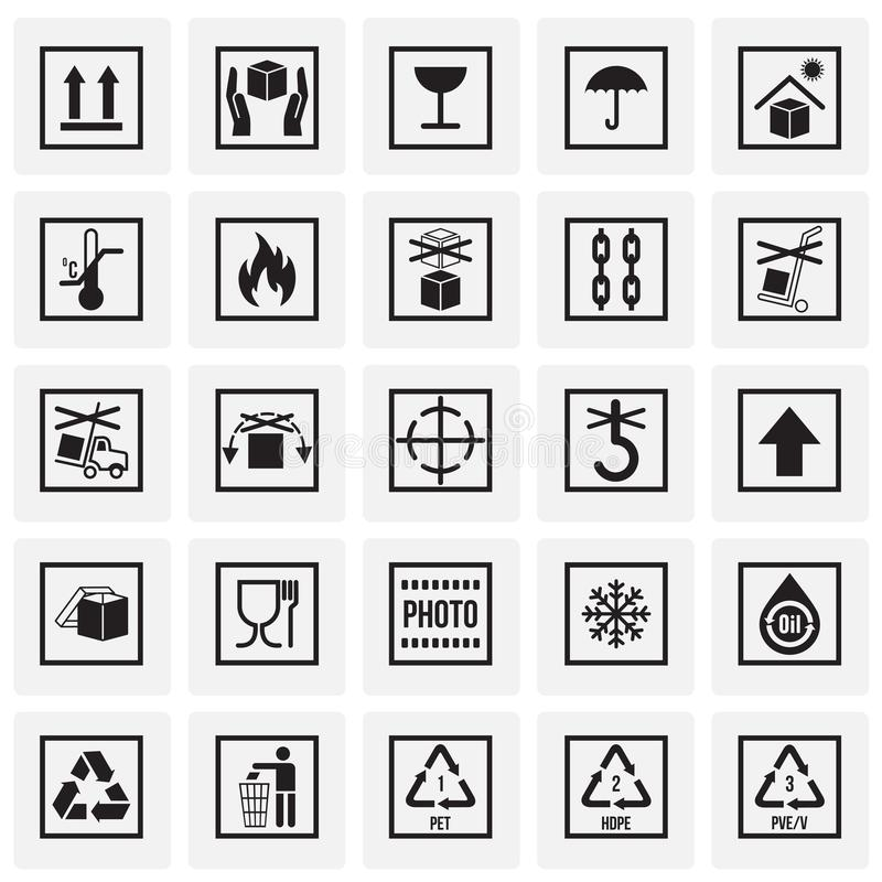Förpackande symbolsymboler på fyrkantbakgrund för diagram och rengöringsdukdesign Enkelt vektortecken Internetbegreppssymbol för vektor illustrationer