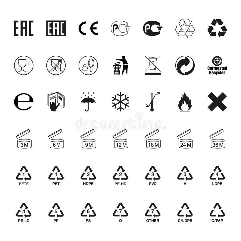 Förpackande symboluppsättning, vektor stock illustrationer
