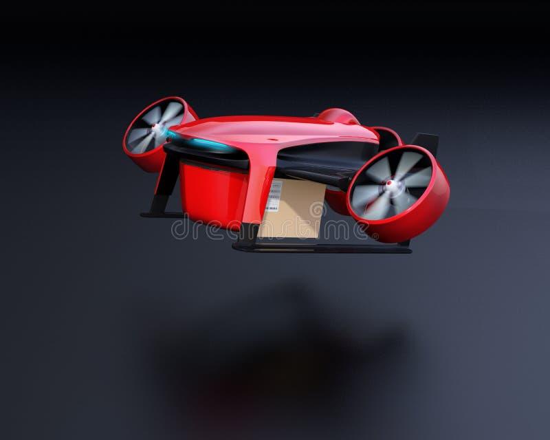 Förpackar den bärande leveransen för det röda VTOL surret start på svart bakgrund royaltyfri illustrationer