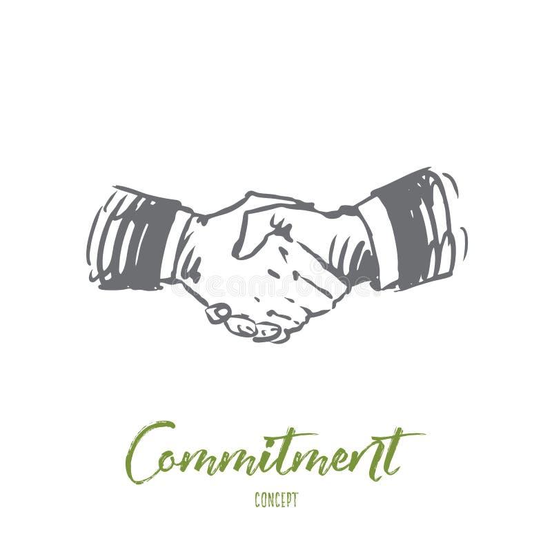 Förpliktelse hand, avtal, affär, partnerskapbegrepp Hand dragen isolerad vektor royaltyfri illustrationer