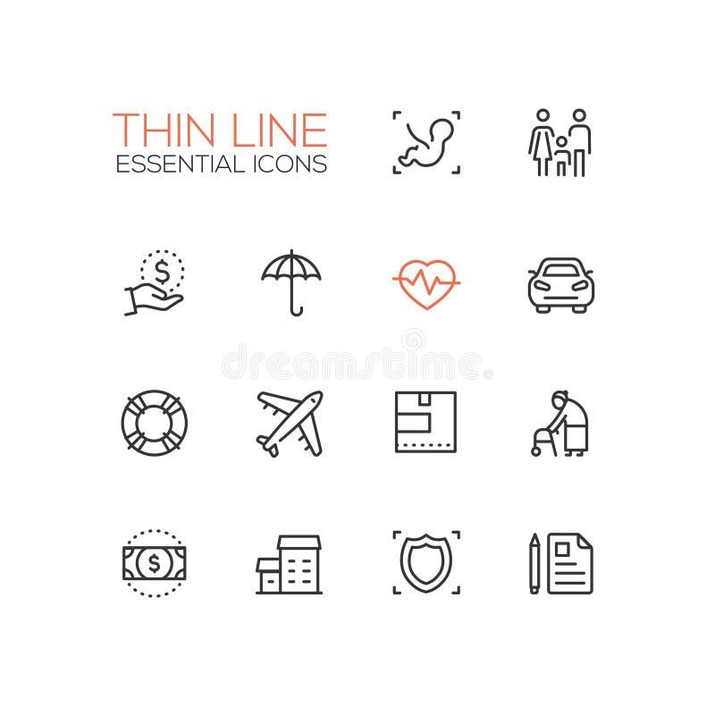 Försäkring - enkel tunn linje symbolsuppsättning för modern vektor royaltyfri illustrationer