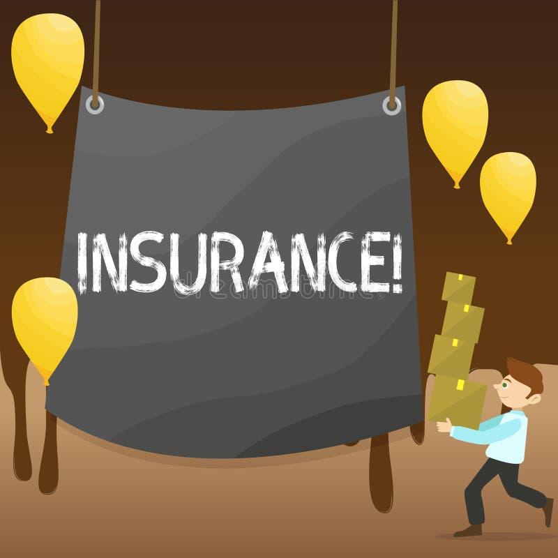 Försäkring för textteckenvisning Begreppsmässig fotopolitik för finansiellt skydd eller ersättning mot förlustman stock illustrationer