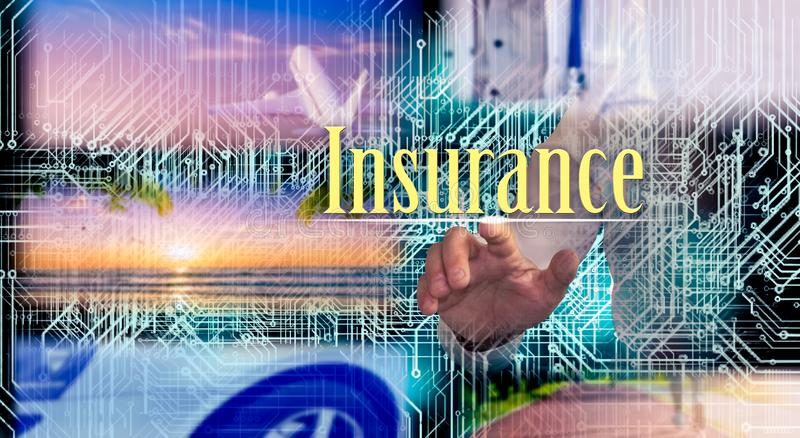 Försäkring hälsa, bil, lopp Försäkringbegrepp på den faktiska skärmen arkivfoton