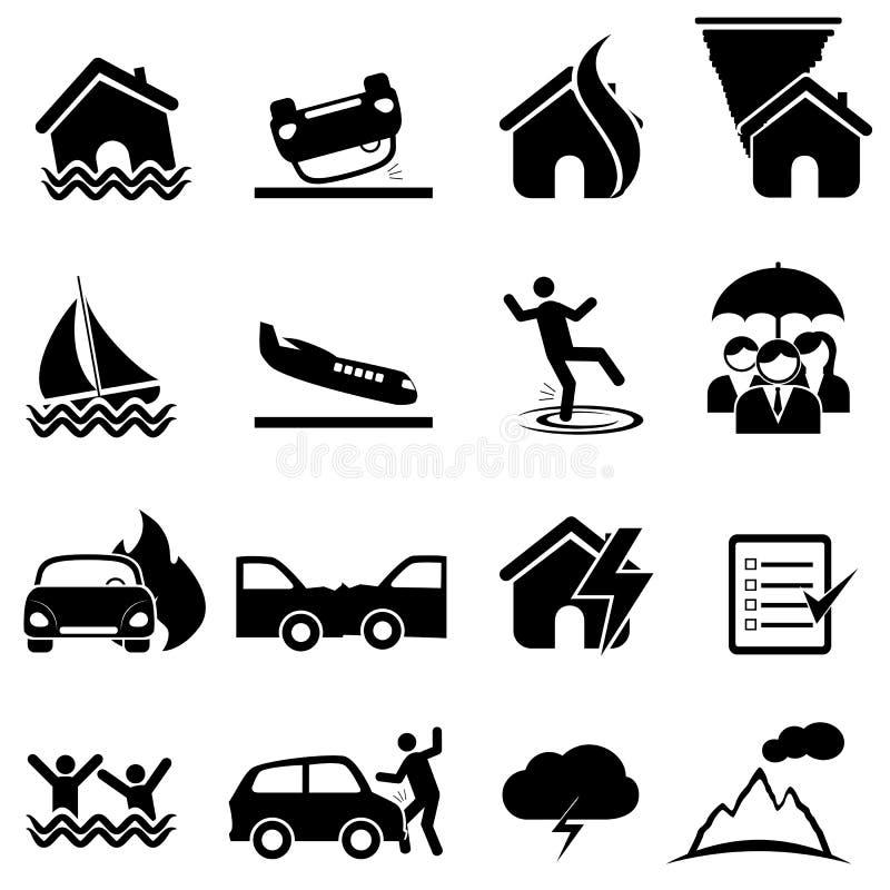 Försäkring- och katastrofsymbolsuppsättning stock illustrationer