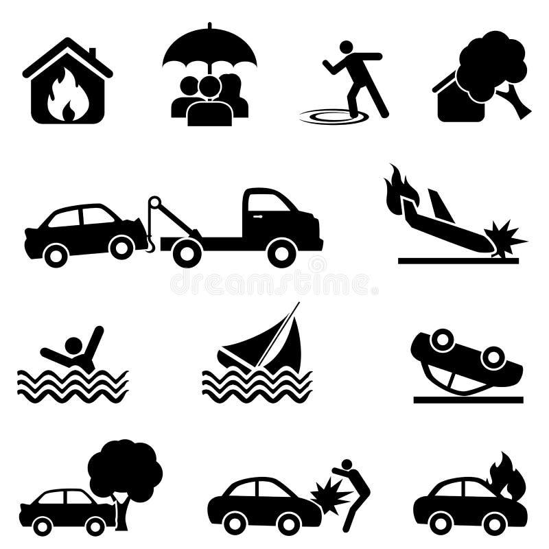 Försäkring- och olyckssymbolsuppsättning royaltyfri illustrationer