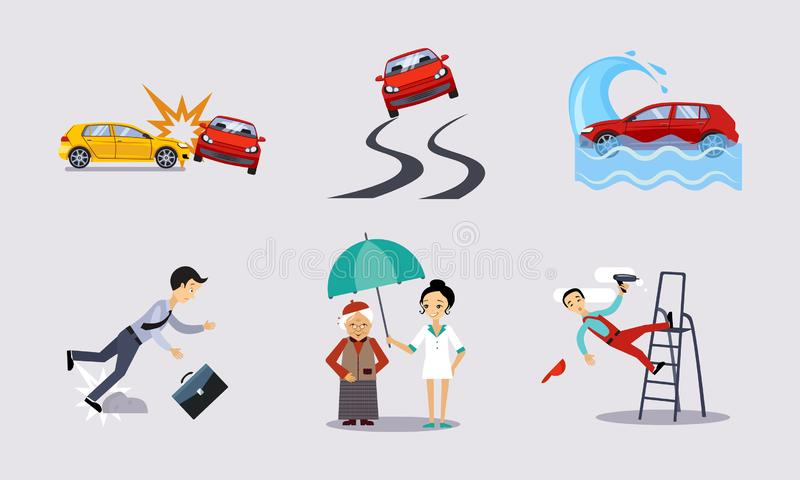 Försäkring och risken försäkrade händelser ställde in, vägolyckor, hälsa och illustrationen för livskyddsvektor stock illustrationer