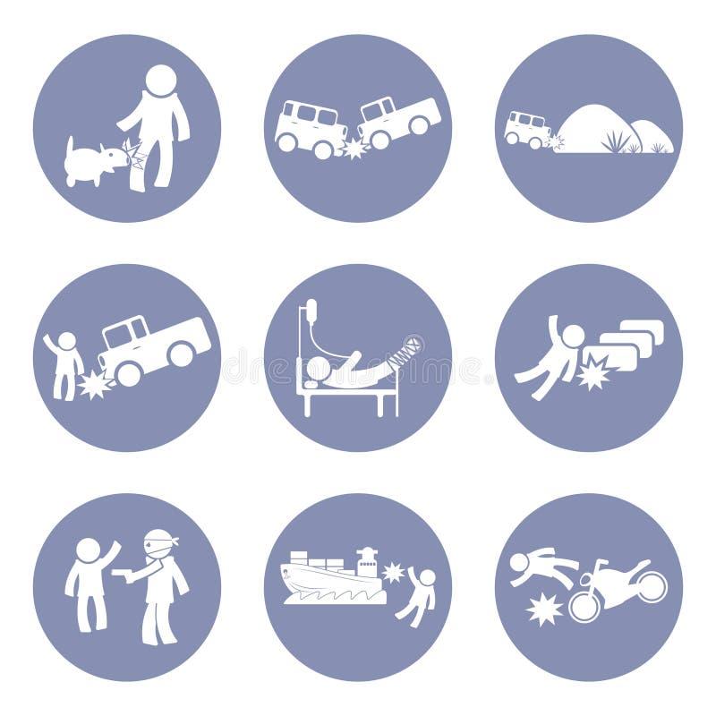 Försäkringar skriver och pictogramen för olyckssymbolsuppsättning för presentationsaffärsidébakgrund in royaltyfri illustrationer