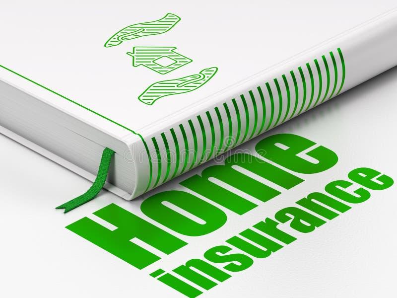 Försäkringbegrepp: boka huset och gömma i handflatan, hem- försäkring på vit bakgrund