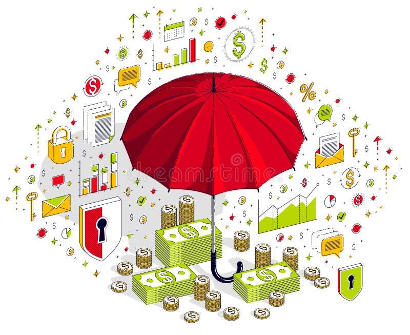 Försäkringbegrepp, paraply med den kontanta pengardollarbunten och coi royaltyfri illustrationer