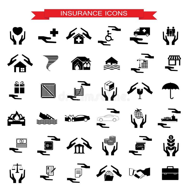 Försäkringbil, hem, katastrofer, investering, hälsa och lopp I vektor illustrationer