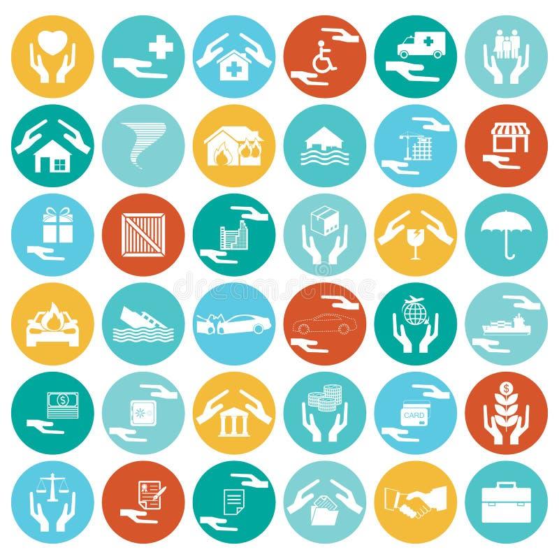 Försäkringbil, hem, katastrofer, investering, hälsa och lopp I royaltyfri illustrationer