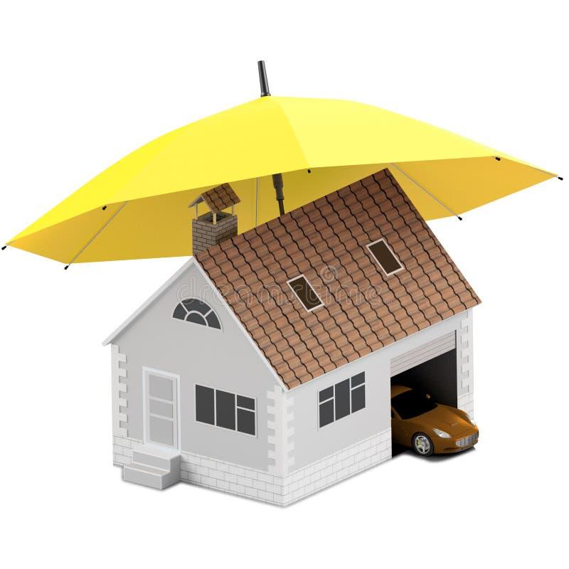 Försäkringhem, hus, liv, bilskydd Köpande hus och bil för familjsymbol Skydda folkbegrepp illustration 3d symbol vektor illustrationer