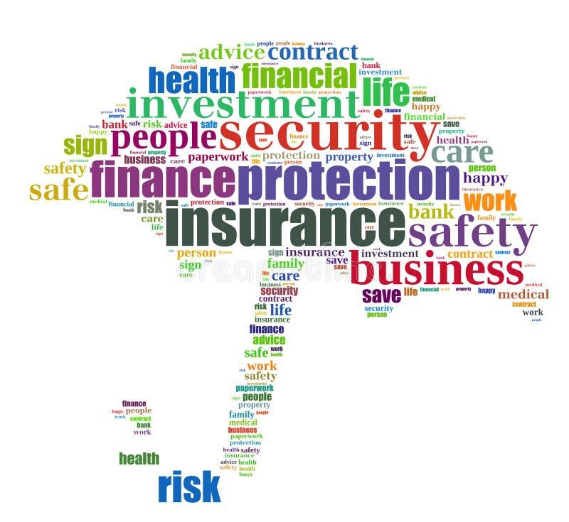 Grafisk försäkringinfo-text royaltyfri illustrationer
