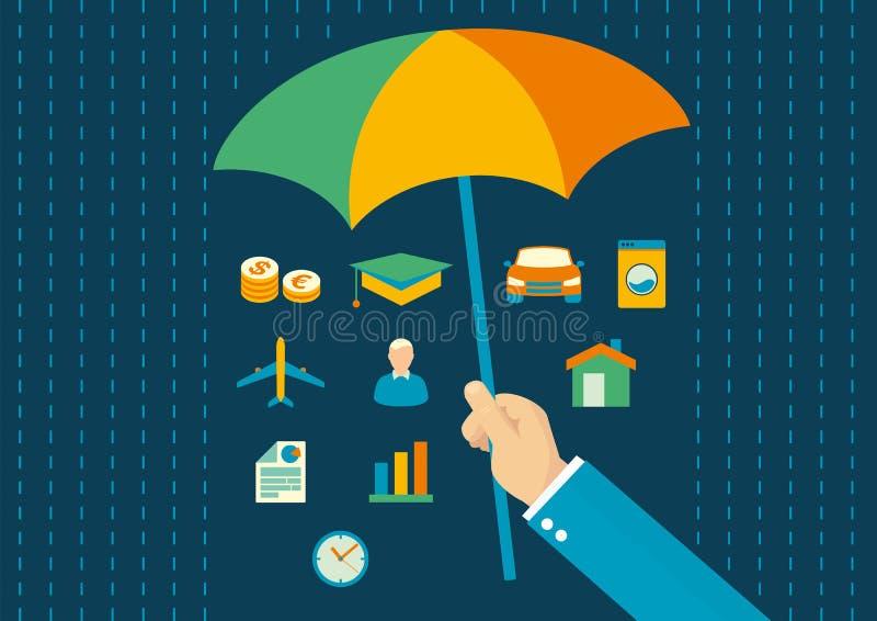 Försäkringlägenhetdesign stock illustrationer