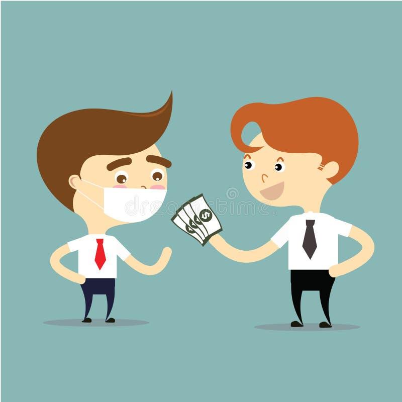 Försäkringmedlet ger pengar för affärsman som är den sjuka vektorn royaltyfri illustrationer