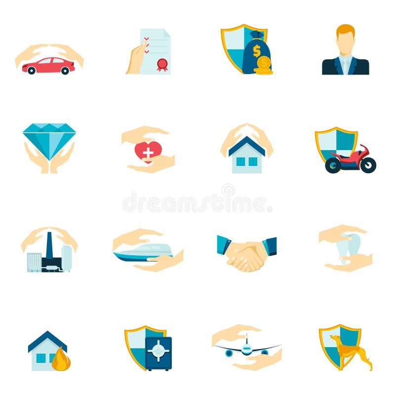Försäkringsymboler sänker vektor illustrationer