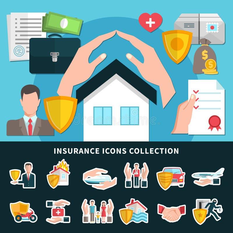 Försäkringsymbolssamling stock illustrationer